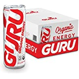 GURU Lite Natural Energy Drink, Low-Calorie Organic Energy, Sweetened with Stevia, 12-Ounce (Pack of 24)
