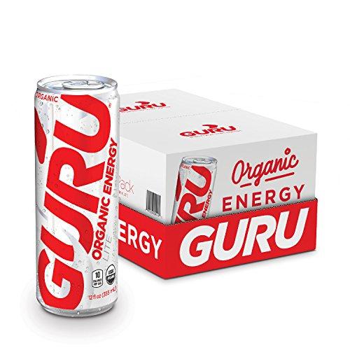 GURU Lite Organic Low Calorie Energy Drink with Green Tea, 12 Ounce (Pack of 24), Stevia & Monk Fruit ...