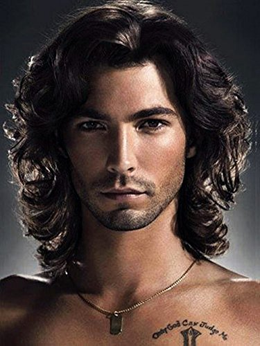 Menoqi Mens Wigs Dark Brown Curly Wig Heat Resistant Hair Wigs Natural Looking Wigs for Party/Daily Use WIG129]()