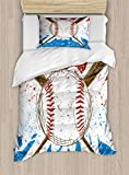 Lunarable Boy's Room Duvet Cover Set Twin Size, Hand Drawn Baseball Bat and Ball on Grunge Colored Artistic Background, Decorative 2 Piece Bedding Set with 1 Pillow Sham, Ruby Blue Brown