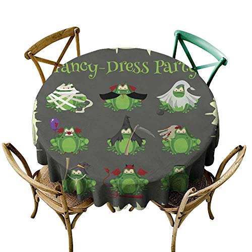 (SKDSArts Tablecovers Round Halloween Green Toads Fashion Costume Outfits Cartoon Style Vector Illustration Isolated on White Background D70,Round)