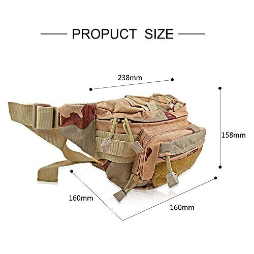 gs-directly Tactical Military Sicherer Taille Tasche Pack strapazierfähig Stoff Bauchtasche Hip Gürteltasche für Outdoor Laufen Camping Trekking Wandern Walking die Hunde