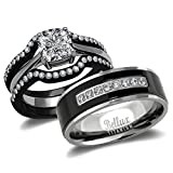 (US) His and Hers Wedding Ring Sets Couples Matching Rings - Women's Steel Wedding Rings & Men's Titanium Wedding Bands (Women's Size 06 & Men's Size 12)