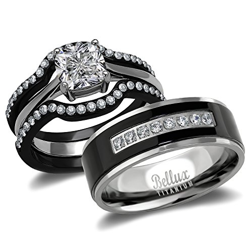 His and Hers Wedding Ring Sets Couples Matching Rings - Women's Steel Wedding Rings & Men's Titanium Wedding Bands (Women's Size 05 & Men's Size 09)