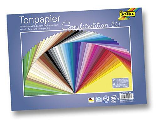 Folia 6725/50 99 - Tonpapier, 130 g/m², 25 x 35 cm, 50 Blatt, sortiert