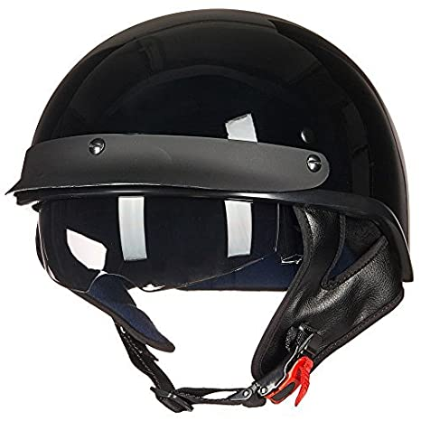 ILM Motorcycle Half Helmet Sun Visor Quick Release Buckle DOT Approved Half Face Cycling Helmets for Men Women S, GLOSS BLACK