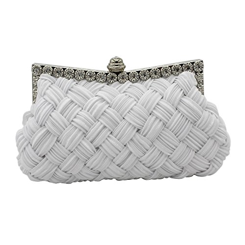 Tanpell Womens Jeweled Pleated Wedding Evening Party Handbag Bridal Clutch Purse White