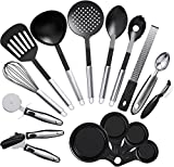 Vremi 15 Piece Kitchen Gadgets and Tools Set w/ Nonstick Cooking Utensils and Collapsible Measuring Cups - Spatula Slotted Serving Spoons Can Opener Whisk Peeler Grater Pizza Cutter Ice Cream Scoop