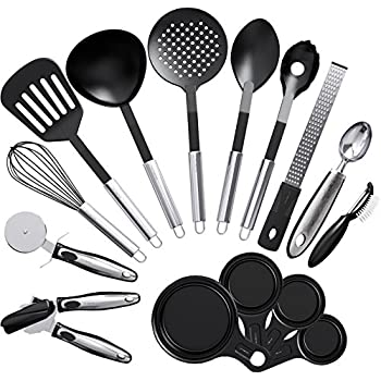Amazon.com: Kitchen Utensil set - 24 Nylon Stainless Steel ...