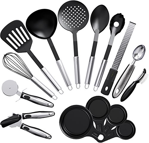 Vremi 15 Piece Kitchen Gadgets Cooking Utensils Set - Kitchen Gadgets and Tools Cooking Utensil Set - Unique Fun Cool Kitchen Gadgets with Plastic Cooking Utensils - Cute Useful Kitchen Gadget Sets