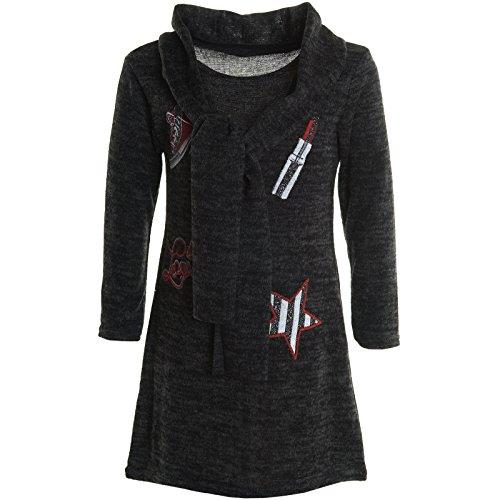Mädchen Extra Strick Pullover Long Bluse Langarm Pullover Feinstrick Shirt 20776, Farbe:Schwarz;Größe:128