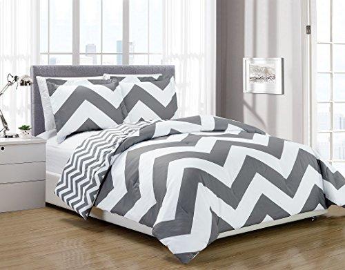 Gray White Chevron Pattern (2-piece Reversible Chevron Zig Zag Duvet Cover Set with Corner Ties (Twin, Grey))