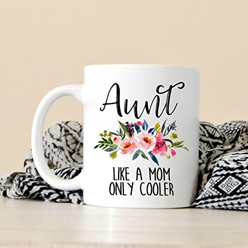 LIZNICE - Aunt Like A Mom Only Cooler - Aunt Gift - New Aunt Gift - Gift For Sister - New Baby - Pregnancy Announcement Idea - Cute Coffee Mug, MUG (Porcelain Double Wall Cooler)