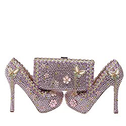 Pink Crystal Wedding High Heels/Matching Bag