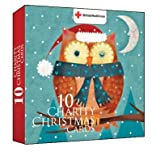 Charity Christmas Cards In Aid of The British Red Cross - Christmas Owl - Wallet Of 10 Cards & Envelopes