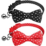 KUDES 2 Pack/Set Cat Collar Breakaway with Bells - Bowtie Style for Kitty and Small Animals Adjustable 7.8''-10.2''(Dot)