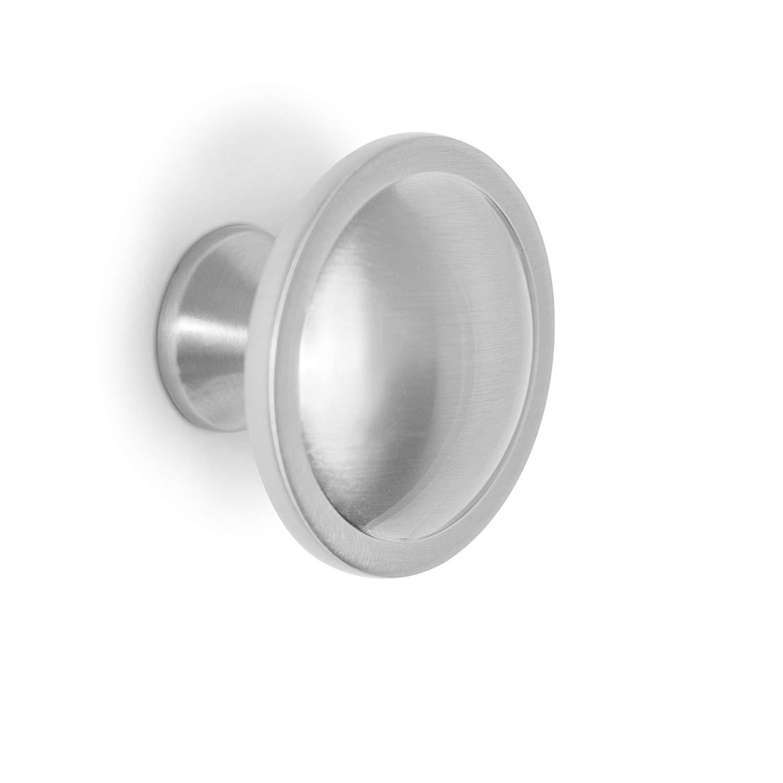 BirdRock Home Decorative Circle Cabinet Knobs | Brushed Nickel | 10 Pack | Kitchen Cupboard Furniture Cabinet Hardware Drawer Dresser Pull | 1.5 Inch Diameter