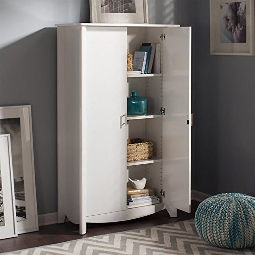 Bush Furniture Aero Tall Storage Cabinet with Doors in Pure White by Bush Furniture