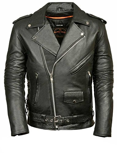 MILWAUKEE LEATHER Men's Classic Side Lace Police Style Motorcycle Jacket (Black, Large)