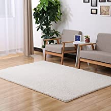 ONEONEY Home Decorator Modern Shag Area Rugs Super Soft Solid Living Room Carpet Bedroom Washable Rug and Carpets-(White,0.4*0.6M)