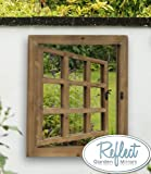 "Garden Window Mirror with Shutters - Antique-Effect Glass Shuttered Outdoor Illusion Mirror (2ft 4"" x 1ft 6"")"