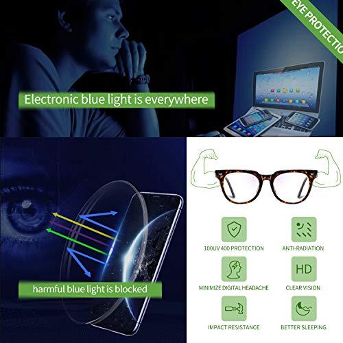 Joopin Blue Light Blocking Glasses for Women Men, Fashion Square Computer Glasses Gaming Glasses Anti Blue Light UV Blocking Glasses TR90 Eyeglasses (Tortoise)