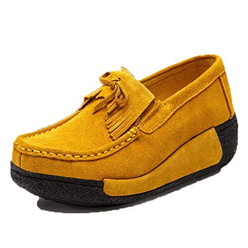 borlas de Mocasines Cordones Zapatos Qiusa EU con Beige Mocasines 40 Amarillo con Zapatos Color tamaño de Plataforma Mujer 0qw1qItSRx