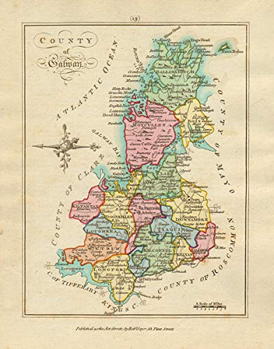 Amazon Com County Of Galway Connaught Antique Copperplate Map By