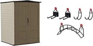 Rubbermaid Outdoor Medium Storage Shed, Large Vertical, Brown & Shed Large Accessory Kit