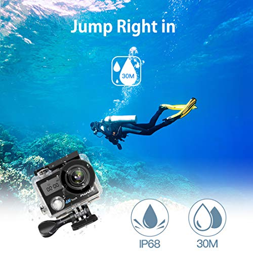 Action Camera, ABOX 608TA 4K 16MP WiFi Sport Cam 30M Waterproof Camcorder with Touch Screen/Dual Screen Display, 170°Wide-Angle Len,2.4G RF Remote, 2 Rechargeable Batteries and Accessories Kit by ABOX (Image #4)