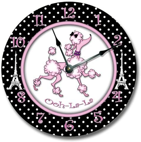 Fancy This Pink Paris Poodle Wall Art Clock Novelty Large 10 1 2