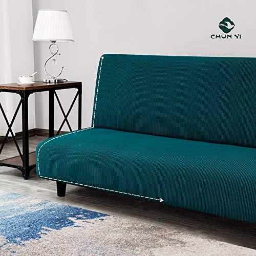 Buy Chun Yi Stretch Armless Sofa Slipcover Elastic Fitted Full Folding Sofa Bed Cover Without Armrests Removable Machine Washable Non Slip Furniture Protector For Futon Couch Teal Online At Low Prices In India
