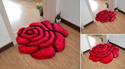 DEARMLSH Rose Design Rugs/Carpet,Flower Shape Shaggy Bedroom Area Rugs Modern Living Room Carpet 3D Floral Rug Soft Shaggy Area Rugs (27.6