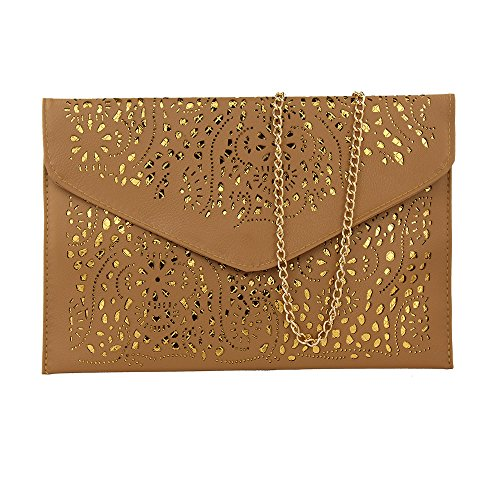 - Women Perforated Cut Out Pattern Gold Accent Background Chain Pouch Fashion Clutch Handbag Wedding Party Purses Envelope Evening Day Clutch Bag For Women Ladies 2019 (dark khaki)