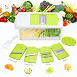 TAPCET Vegetable Chopper Dicer Slicer Cutter Manual / Vegetable Grater with 7 Interchangeable Stainless Steel Blades Multi-functional Adjustable Vegetable & Fruit with Storage Container