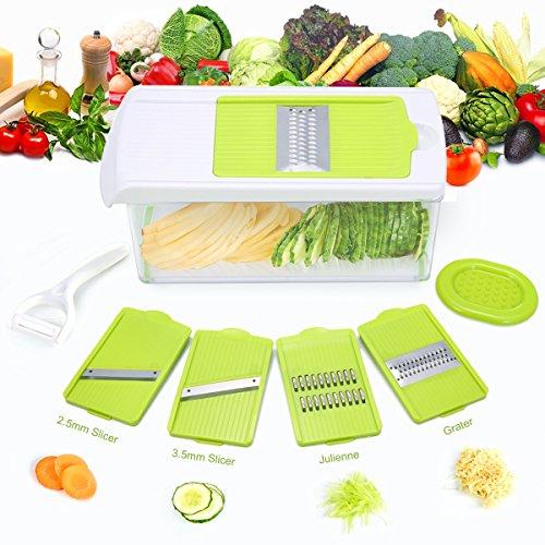 Mandoline Slicer, TAPCET Mandolin Vegetable Slicer, Vegetable Chopper, 4 Interchangeable Blades Cutter Includes Vegetable Grater, Julienne Slicer and Peeler, Hand Protector and Storage (V-slicer Pro Mandoline)