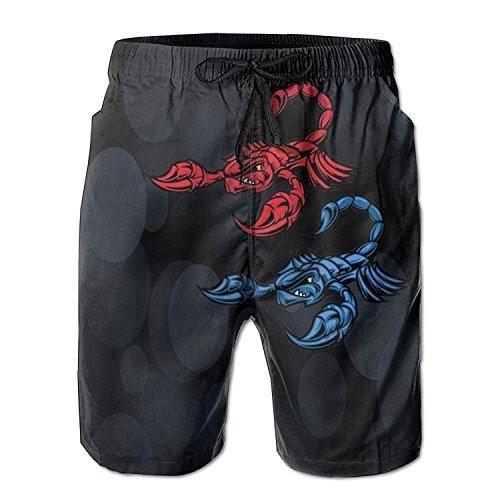 - LLiopn Men's Blue and Red Vector Scorpion Swim Trunks Boardshorts with Pokets Beach Shorts Medium