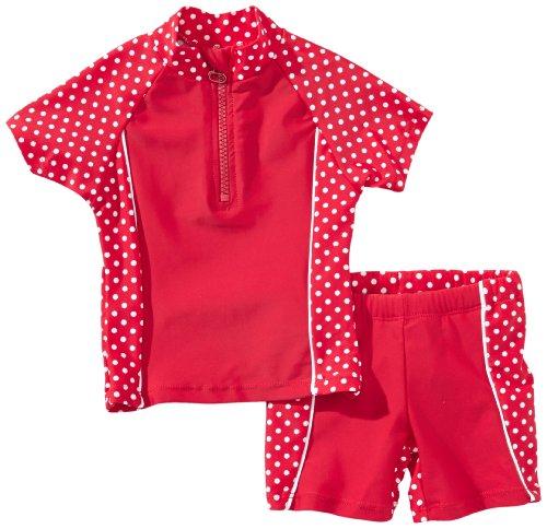 Playshoes Baby - Mädchen Schwimmbekleidung 461032 2 tlg. Bade-Set (T-Shirt und Badeshorty) Punkte von Playshoes mit UV-Schutz nach Standard 801 und Oeko-Tex Standard 100, Gr. 74/80, Rot (8 rot)