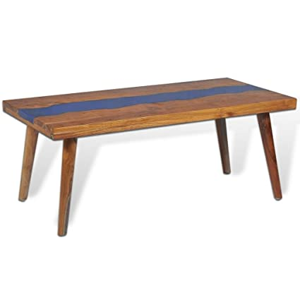 Festnight Rectangle Coffee Table Teak Wood Resin End Side Table For Home  Office Living Room Furniture