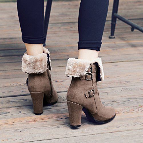 Meotina Winter Boots Fur Ankle Boots Buckle Thick High Heel Female Boots Fashion Shoes Khaki wLtwxLj9V