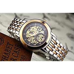 TSS Men's Automatic Skeleton Watch Stainless Steel Band T8016M2
