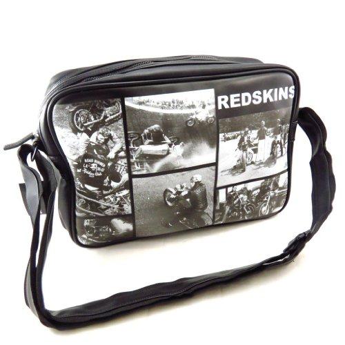 Borsa a tracolla Redskins nero, bianco, annata.
