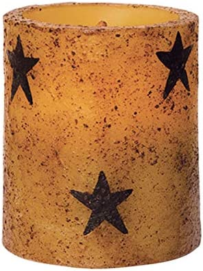 CWI Gifts Star Flameless Rustic LED Unscented Pillar Candle – 3 x 3.5 inch – Burnt Mustard Finish – On Off Switch – 6 Hour Timer – Home Decor Lighting