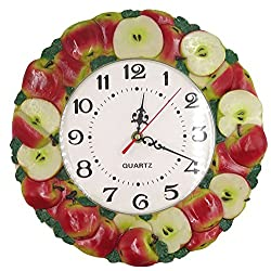 GGCI Hand Painted Resin Wall Clock Apple Multi Color
