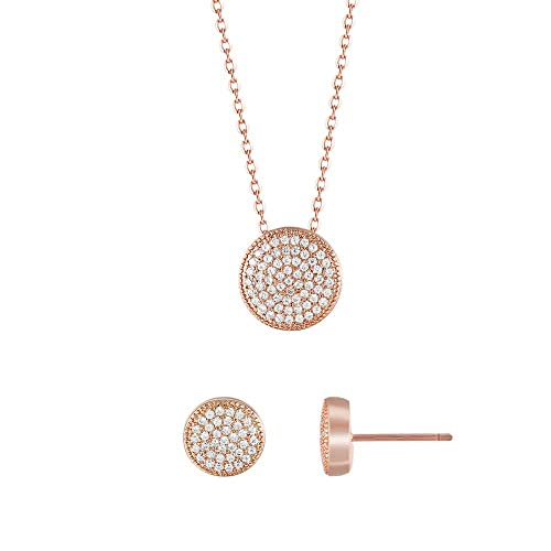 1e3562081 Amazon.com: Gercia 14K Rose Gold Jewelry Set 5A Cubic Zirconia Pendant  Necklace and Stud Earrings Round Necklace Set Birthday Gift for Women  Girls: Jewelry