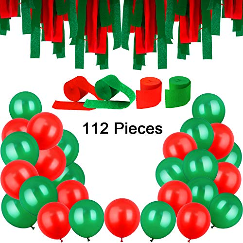 Jovitec 100 Pieces 12 Inches Latex Balloons and 12 Rolls Crepe Streamers for Halloween Christmas Valentine's Day St. Patrick's Day (Color Set 2) ()