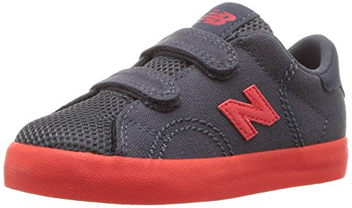 New Balance Kids' Court V1 Hook and Loop Sneaker, Grey/Red, 9.5 W US Toddler New Balance Toddler Hook