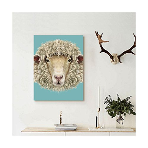 Liguo88 Custom canvas Humor Portrait of Ram Sheep Goat Head Meadow Mammal Hipster Retro Style Graphic Art Wall Hanging for Turquoise (Rams Portrait Picture Frame)