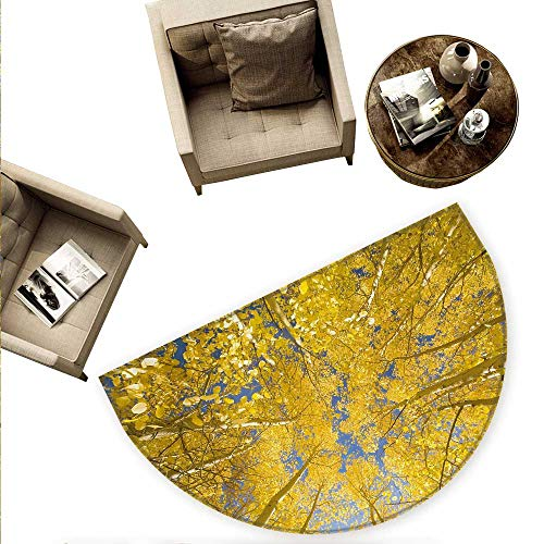 Yellow and Blue Semicircular Cushion Looking Skyward Amongst The Patch of Sun-lit Aspen Trees in Autumn Life Print Entry Door Mat H 74.8