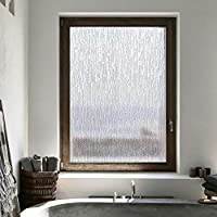 Velimax Self-Adhesive Window Film Shiny Frosted Window Films for Privacy Decorative Striped Window Clings Anti-UV 17.7 x 78.7